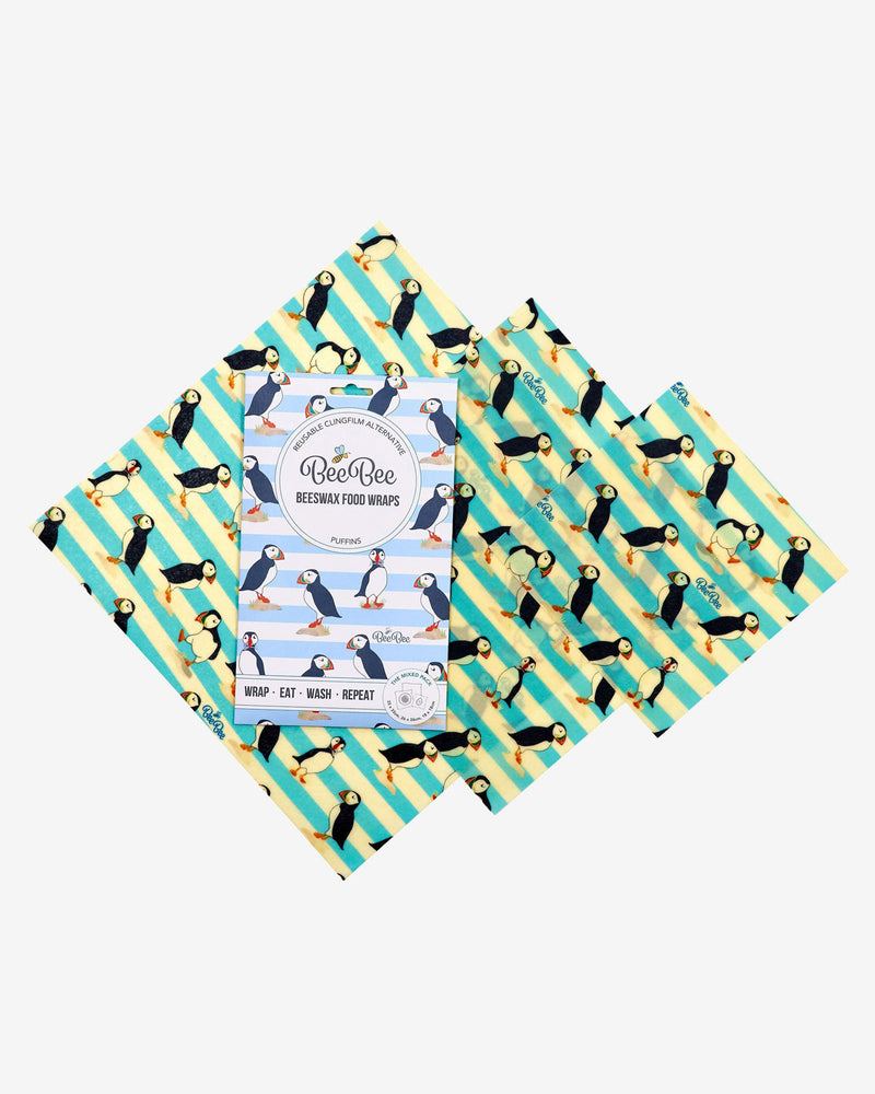 BeeBee 'Puffin' Organic Cotton Beeswax Wrap - Mixed Pack