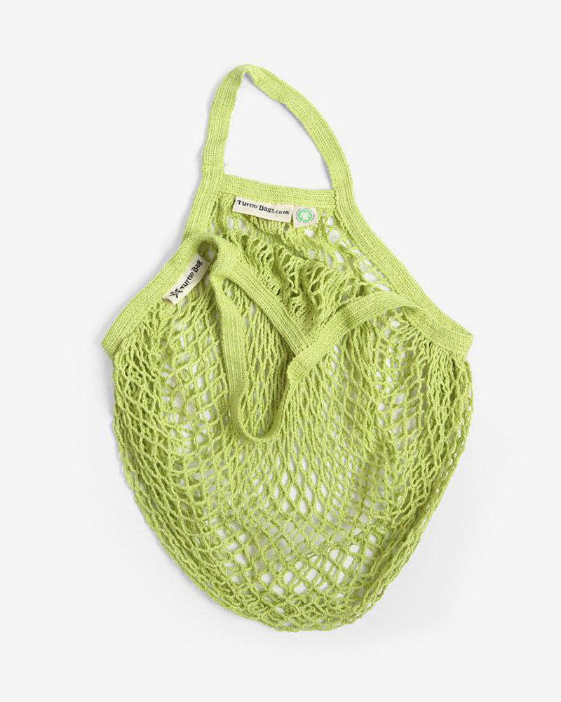 Organic Cotton Short-Handled String Bag in Lime by Turtle Bags