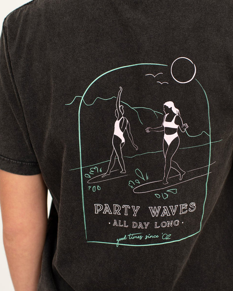 SurfGirl 'Party Waves' Organic Cotton Tee in Vintage Black