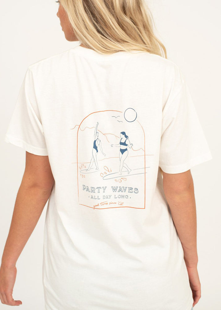 SurfGirl 'Party Waves' Tee in Vintage White