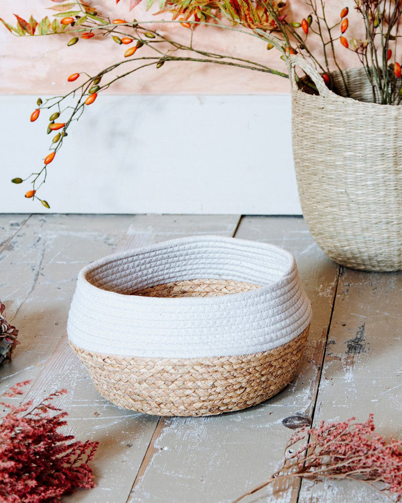 White Dipped Rope & Sea Grass Basket