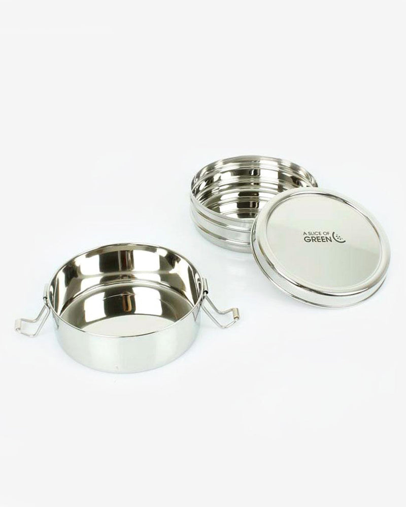 Stainless Steel Two Tier Round Lunch Box by A Slice of Green