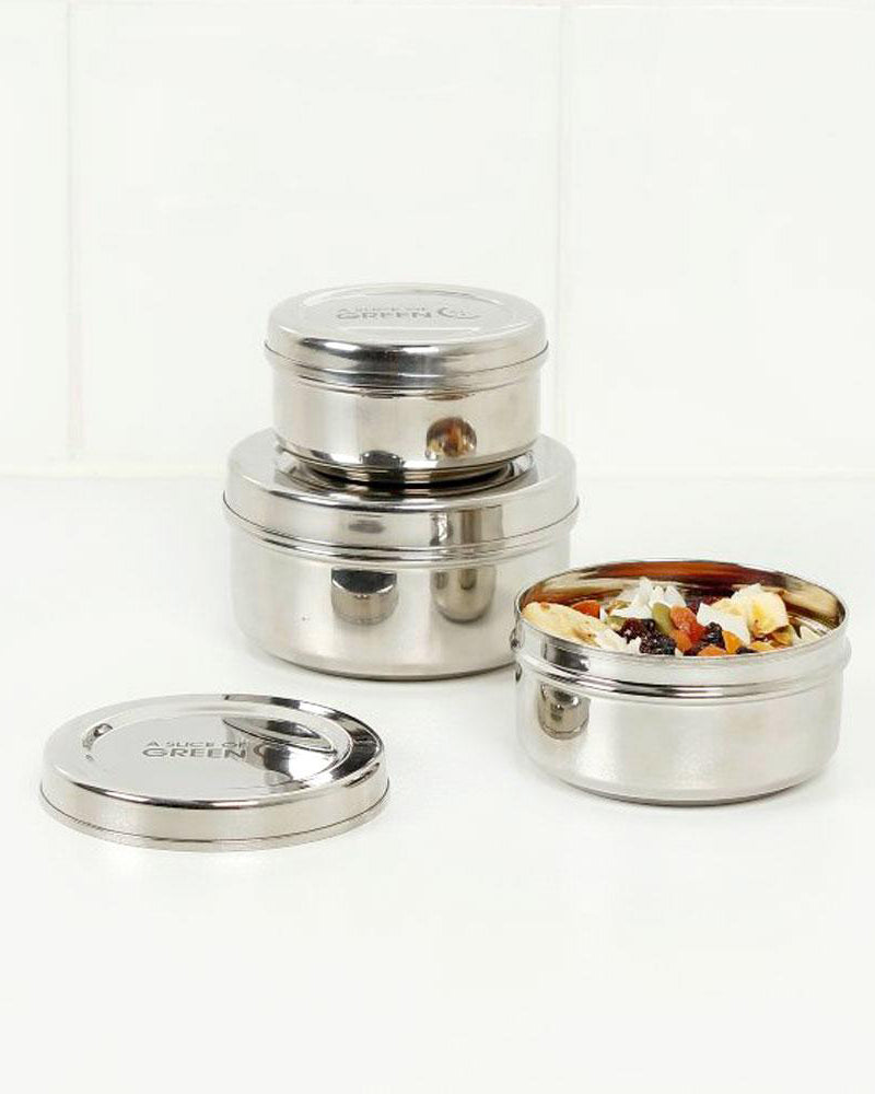 Set of 3 Stainless Steel Containers by A Slice of Green