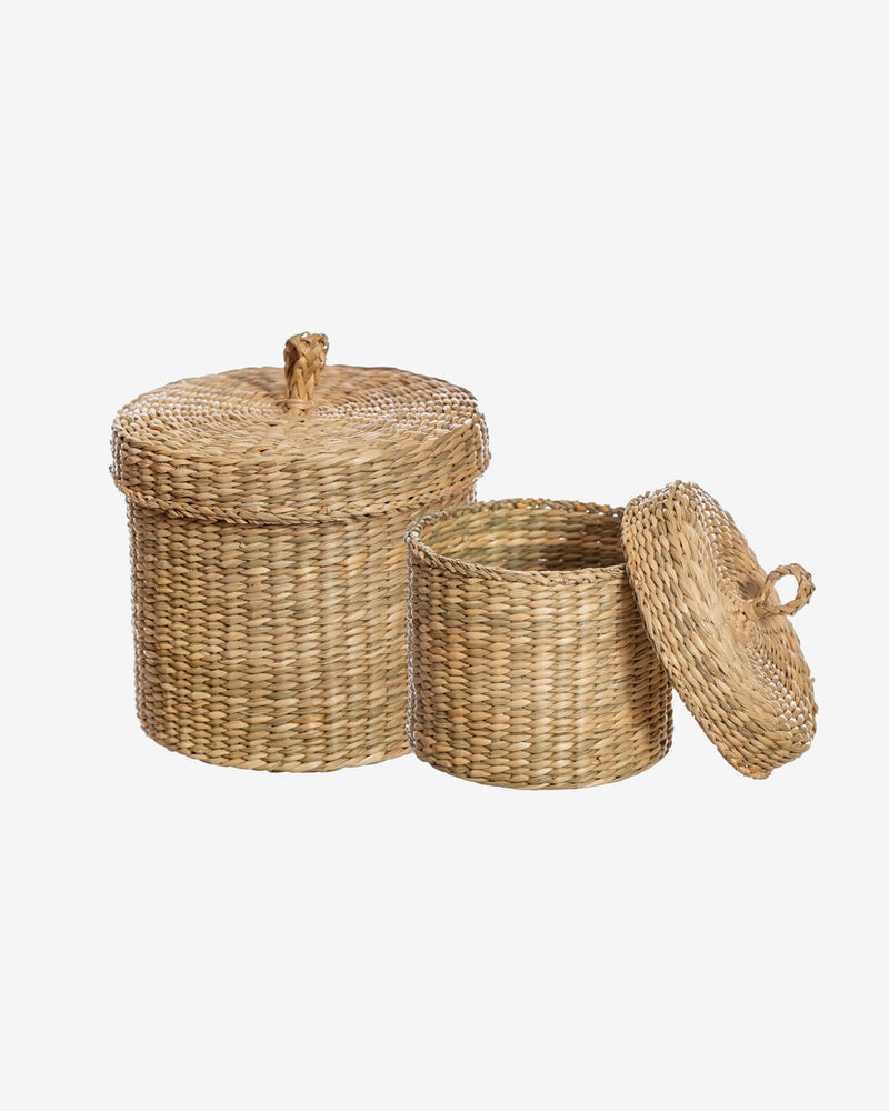 Seagrass Storage Baskets with Lid - Set of Two
