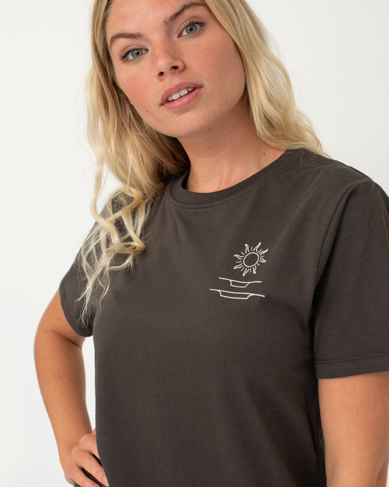 SurfGirl 'Rad Girls Sunshine Club' Ladies Organic Cotton Tee in Charcoal