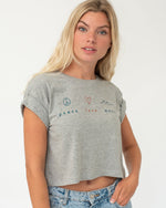 SurfGirl 'Peace, Love, Wave' Organic Cotton Crop Tee in Grey