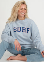 SurfGirl 'Surf Sisterhood' Organic Crew in Tranquil Blue