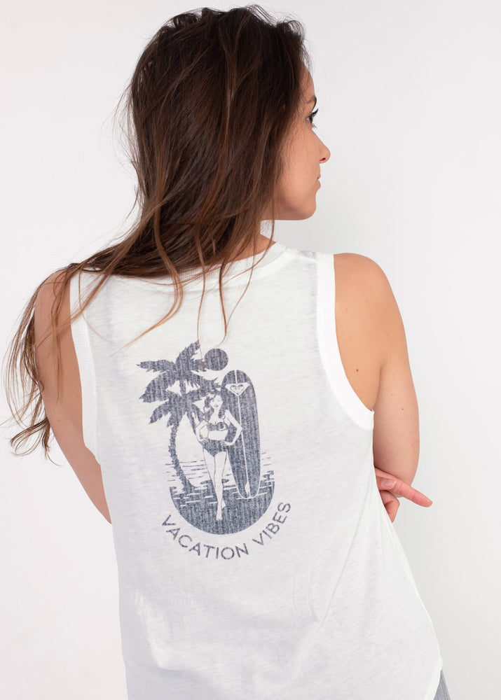 Hypnotized By The Sun Ladies White Vest Sleeveless Summer Top by Roxy Surf