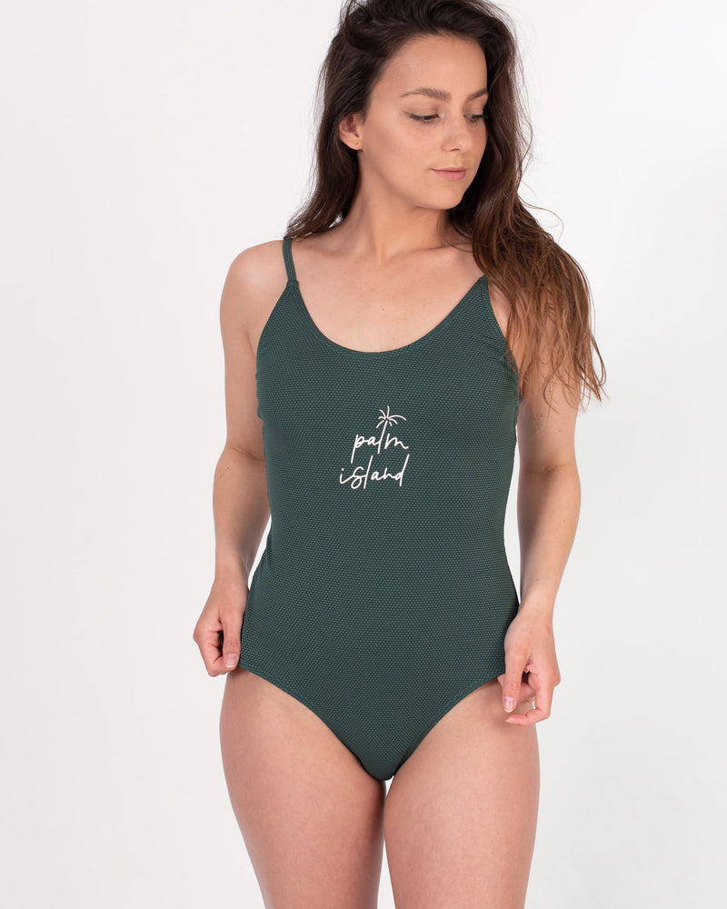 Ladies Puck Dark Green Summer One Piece Swimsuit by Protest Clothing