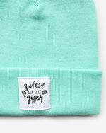 SurfGirl Classic Rib Knit Beanie in Mint