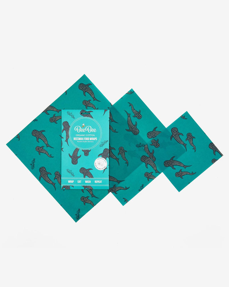 BeeBee 'Whale Pod' Organic Cotton Beeswax Wrap - Mixed Pack