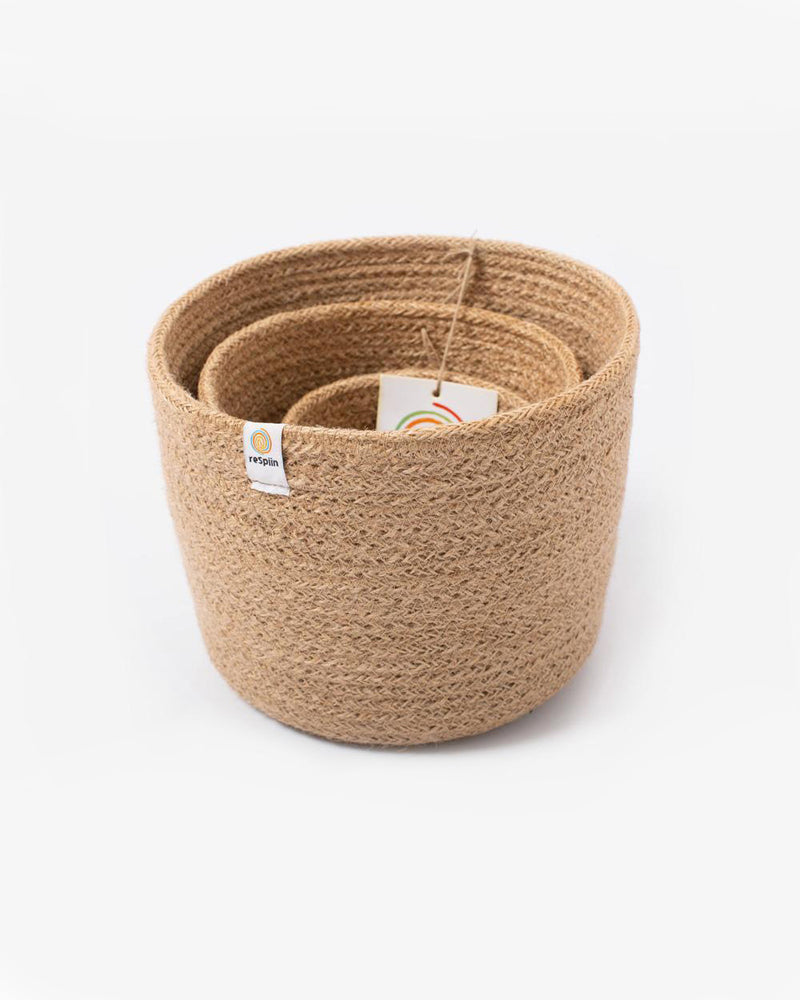Three Piece Jute Basket Set - Natural