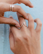 SurfGirl Beach Boutique Ladies Spindrift Mountain Wave Recycled Sterling Silver Ring