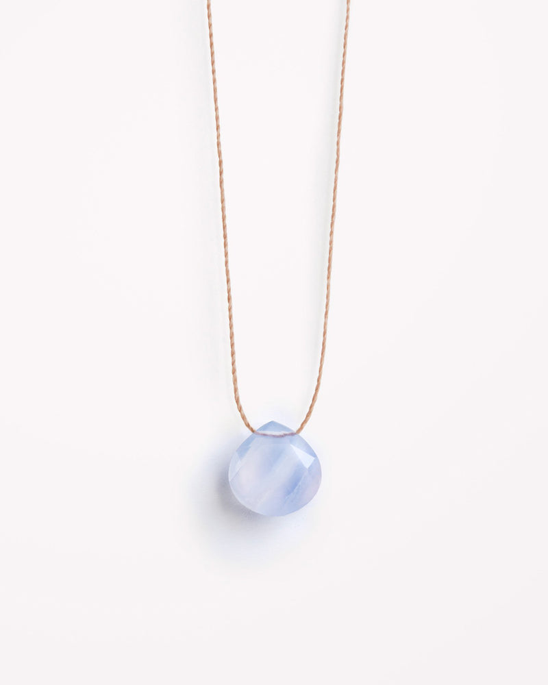 Blue Lace Agate Fine Cord Necklace by Wanderlust Life