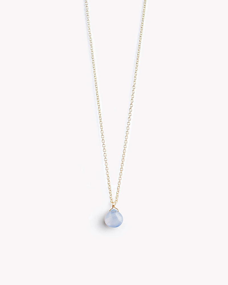 Blue Lace Agate Gold Chain Necklace by Wanderlust Life