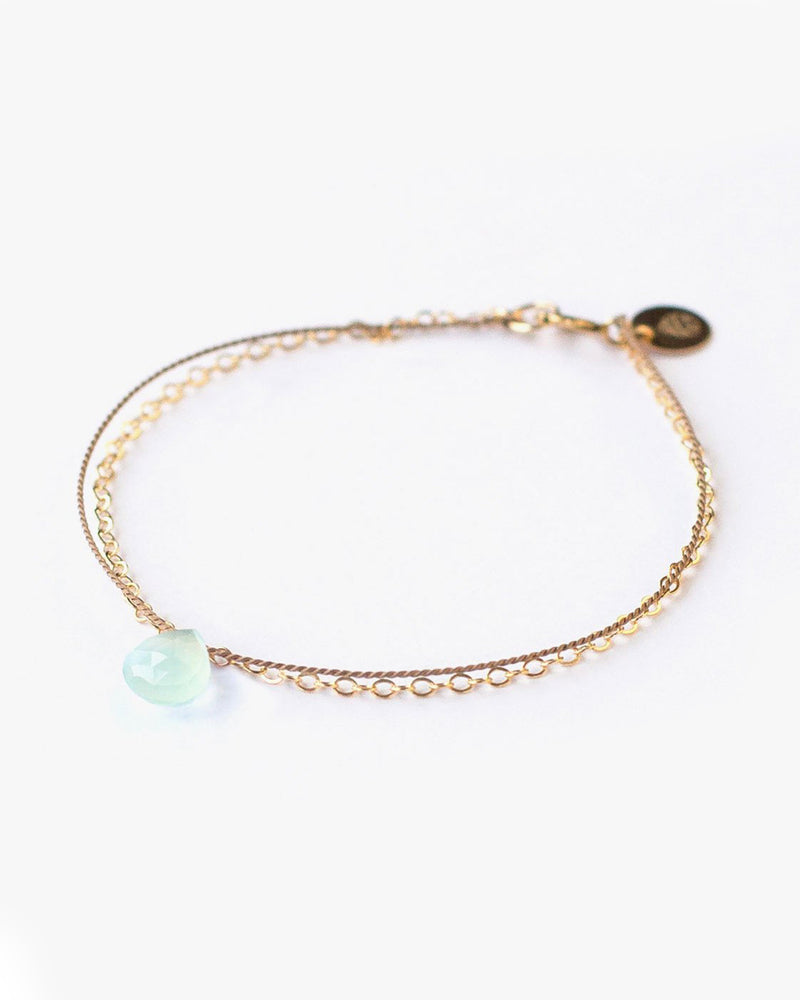 Wanderlust Life Gold & Silk Sea Glass Chalcedony Bracelet