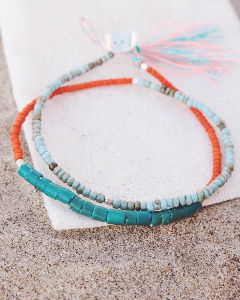SurfGirl Beach Boutique Ladies Jewellery At.Aloha Seas The Day Beaded Surf Bracelet in Turquoise / Orange
