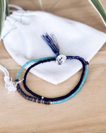 At.Aloha Seas The Day Beaded Bracelet in Blue / Black