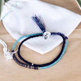 SurfGirl Beach Boutique Ladies Jewellery At.Aloha Seas The Day Beaded Surf Bracelet in Blue / Black