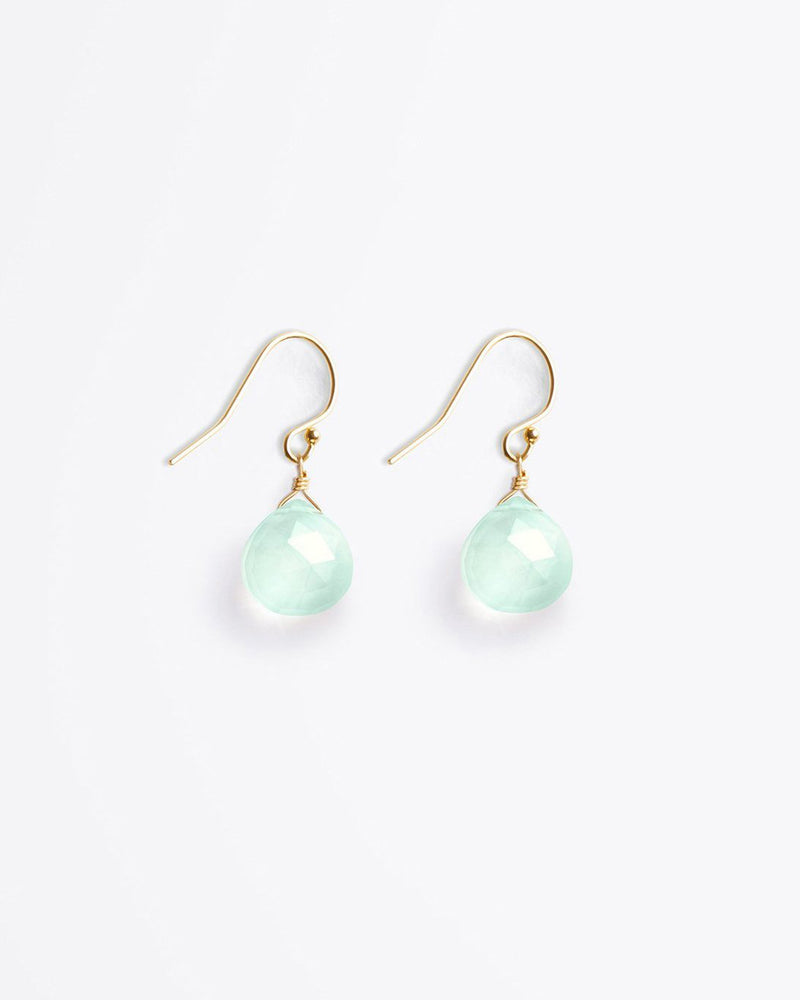 Isla Drop Sea Glass Chalcedony Earrings by Wanderlust Life
