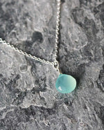 SurfGirl Beach Boutique Ladies Sadie Jewellery Aqua Chalcedony Gemstone Pendant Necklace