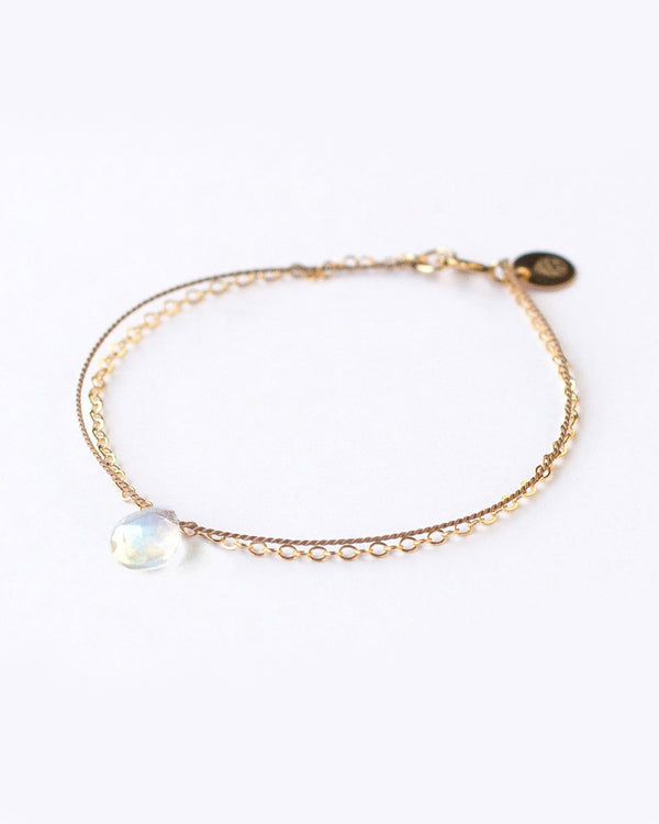 SurfGirl Beach Boutique Wanderlust Life Gold & Silk Rainbow Moonstone Bracelet Ladies Jewellery