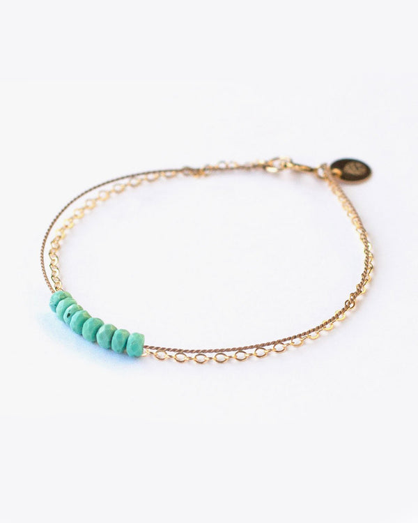 SurfGirl Beach Boutique Wanderlust Life Gold & Silk Turquoise Beaded Bracelet Jewellery