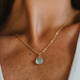 Sea Glass Chalcedony Gold Chain Necklace by Wanderlust Life