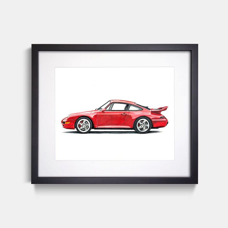 1997 Porsche 911 Red Art Print Black Frame