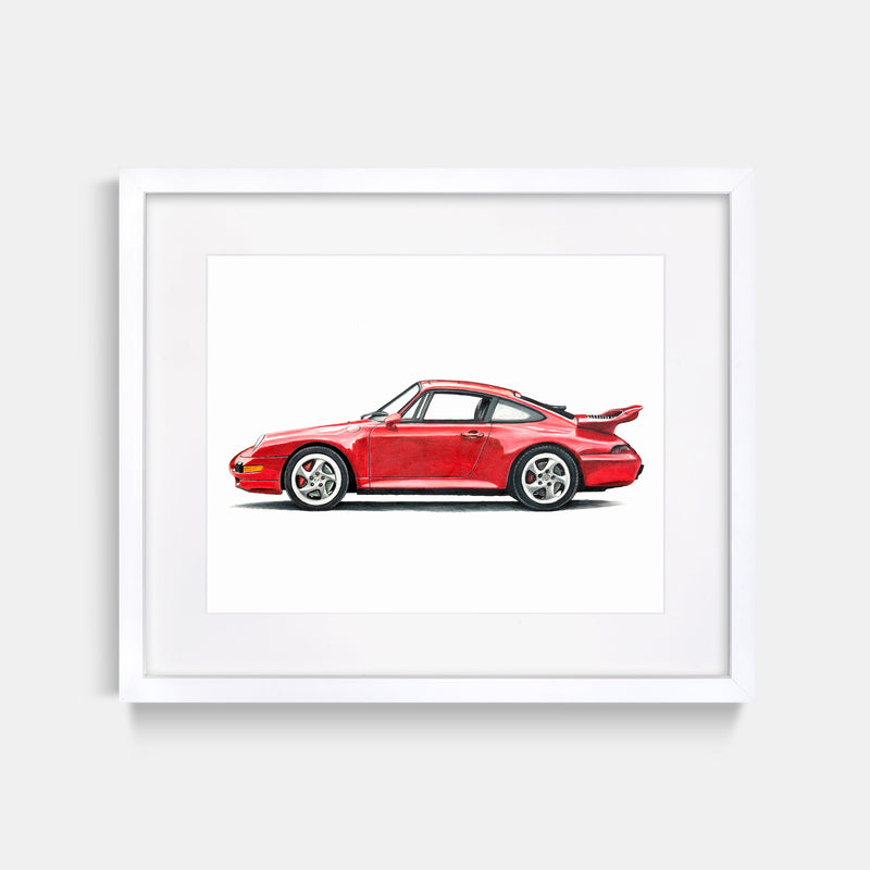 1997 Porsche 911 Red Art Print White Frame