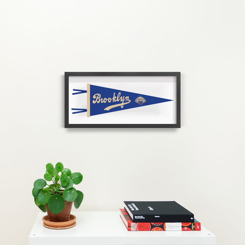Brooklyn Dodgers Pennant Illustration Print With Black Frame