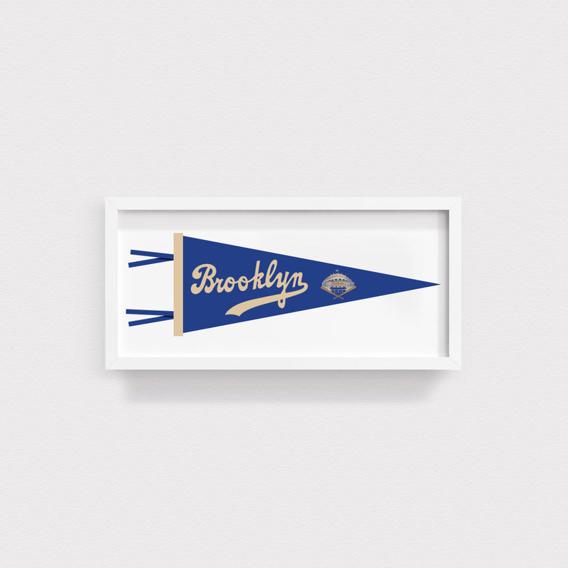 Brooklyn Dodgers Pennant Illustration Print With White Frame