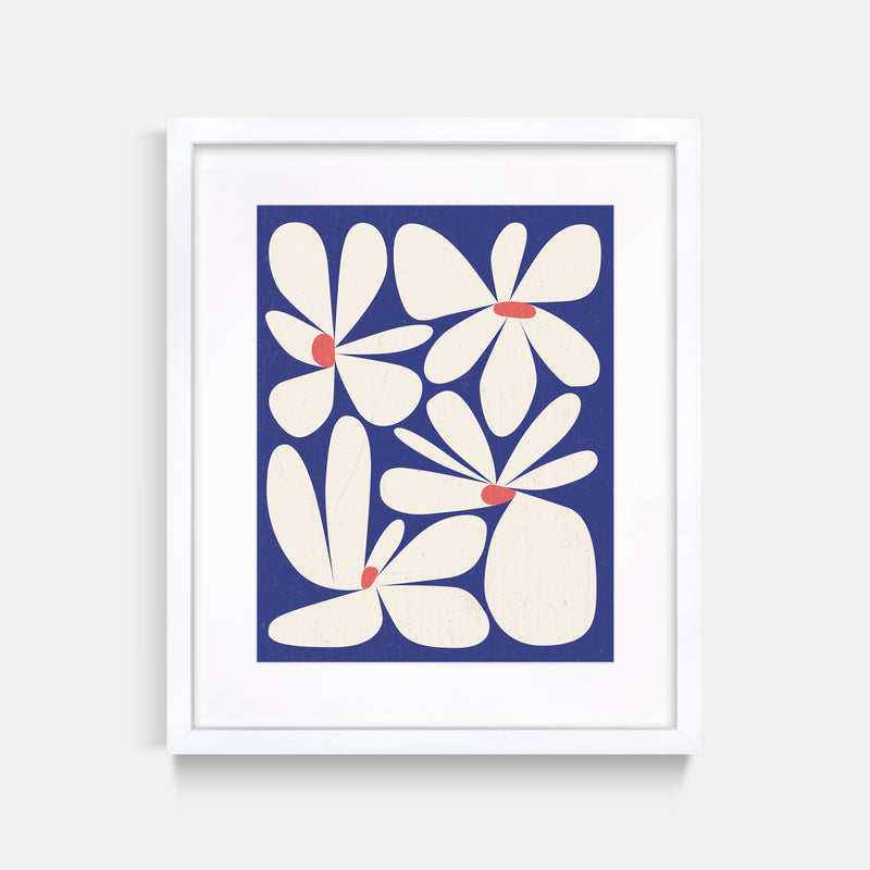 Flower Abstract Art Print Thomas Heinz White Frame