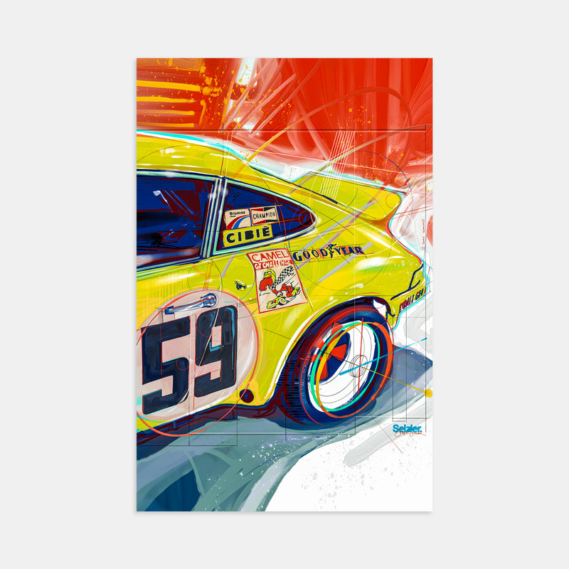 GT Racer Porsche 911 Illustration Print by Stephen Selzler