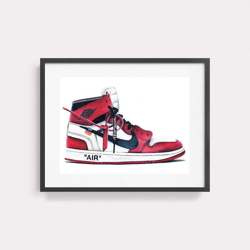 Jordan 1 Retro High Off-White Chicago Hand Drawn Illustration With Black Gallery Frame