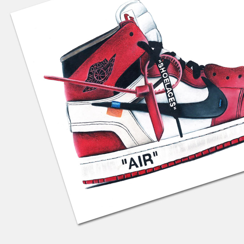 Jordan 1 Retro High Off-White Chicago Hand Drawn Illustration Print Detail
