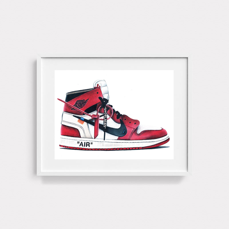Jordan 1 Retro High Off-White Chicago Hand Drawn Illustration With White Gallery Frame