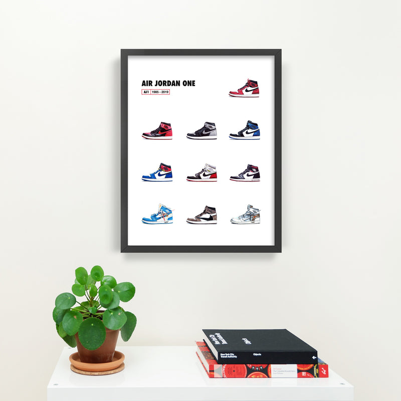 Air Jordan 1 Collage Print Illustration Black Frame