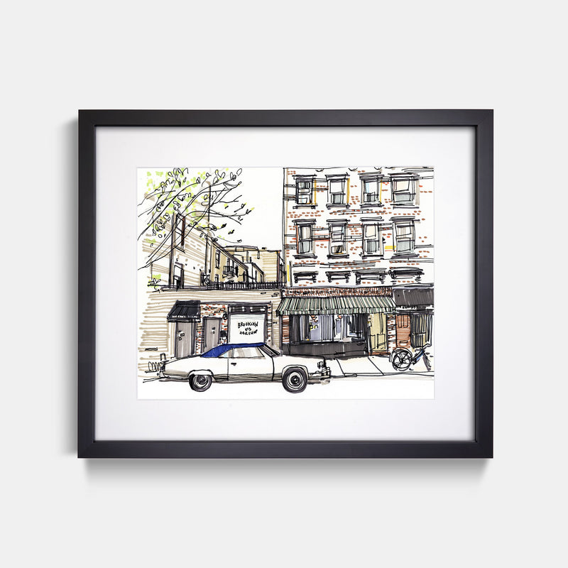 Lucali Restaurant Brooklyn New York Hand Drawn Illustration With Black Gallery Frame