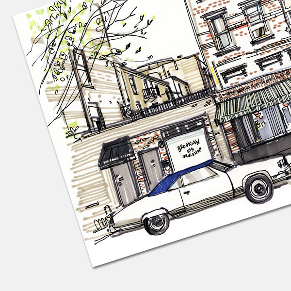 Lucali Restaurant Brooklyn New York Hand Drawn Illustration Print Detail