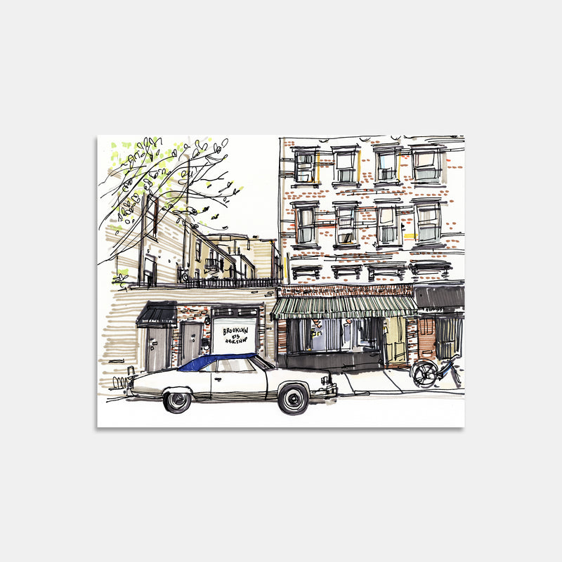 Lucali Restaurant Brooklyn New York Hand Drawn Illustration Print Only