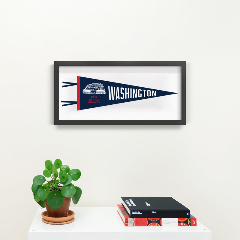 Washington Nationals World Series Champs Pennant Print With Black Frame