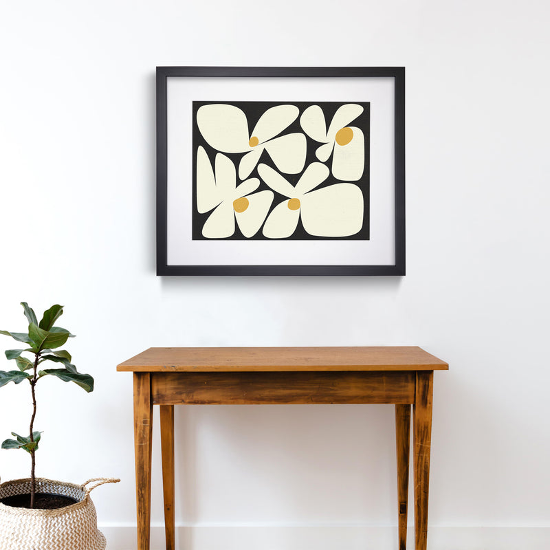 Flowers Black Yellow Abstract Art Print Black Frame