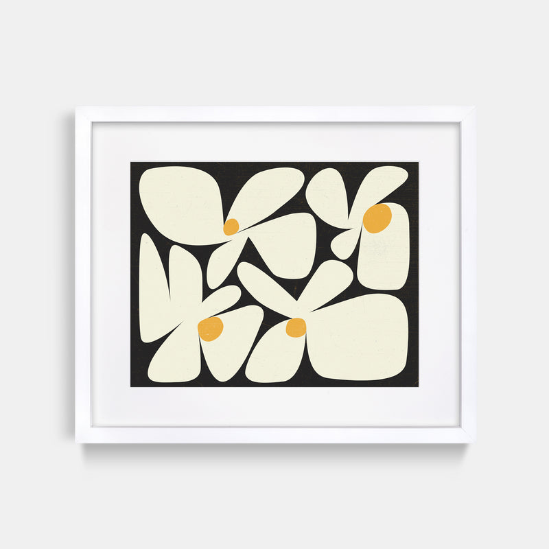 Flowers Black Yellow Abstract Art Print White Frame