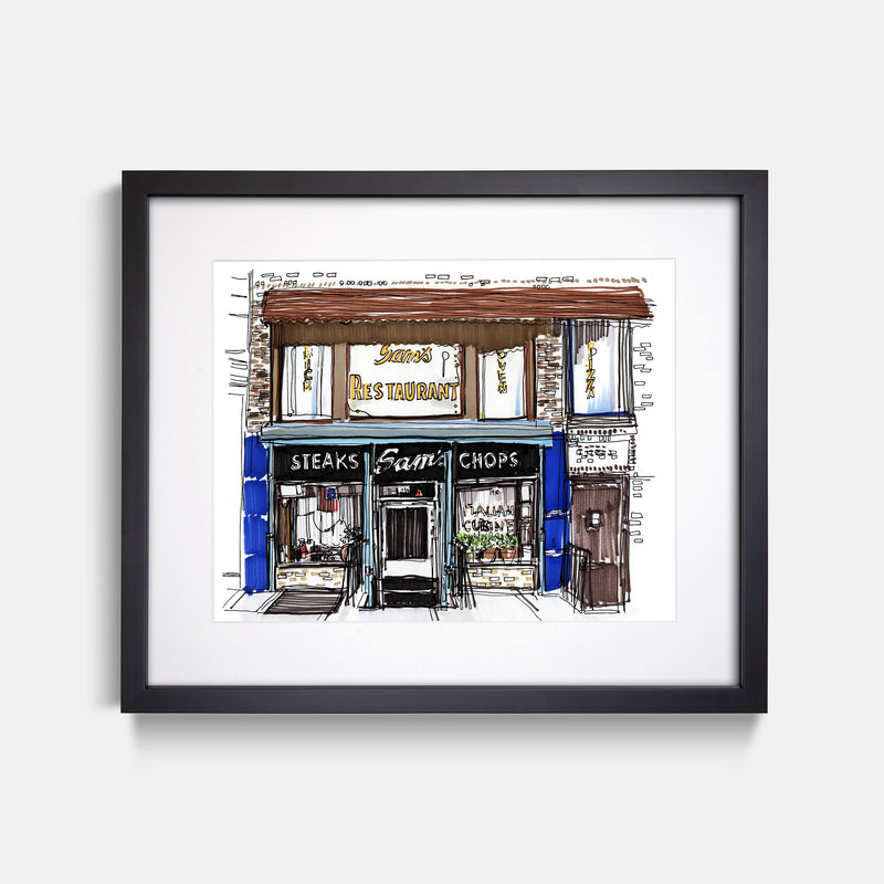 Sam's Italian Restaurant Cobble Hill Brooklyn Hand Drawn Illustration With Black Gallery Frame