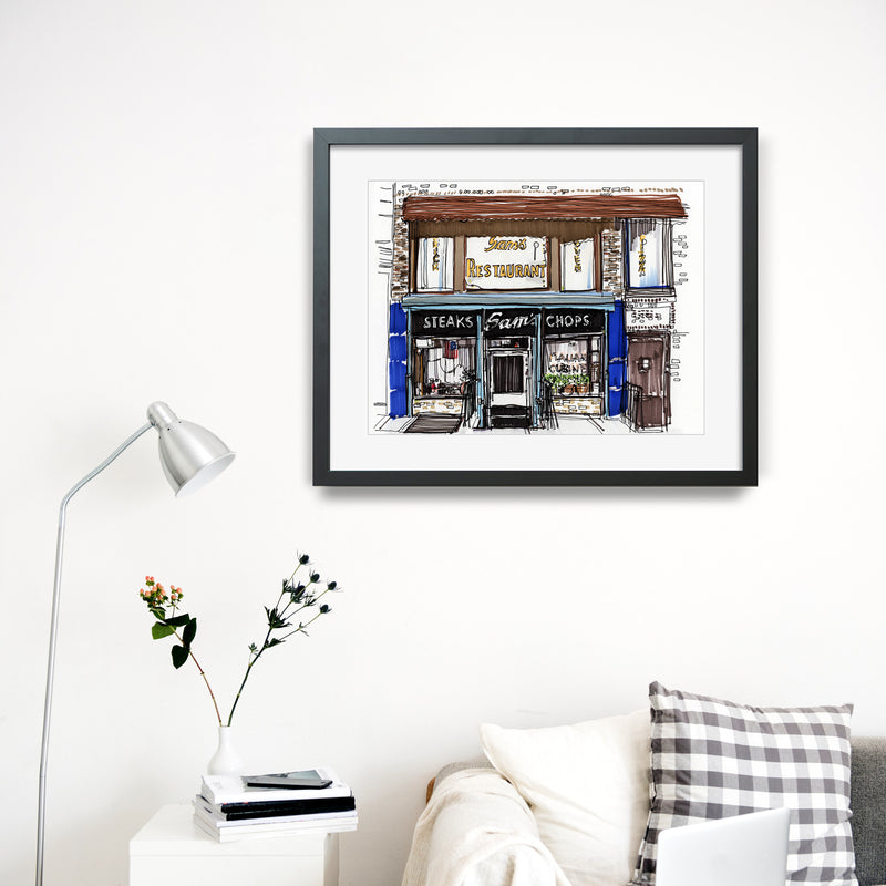 Sam's Italian Restaurant Cobble Hill Brooklyn Hand Drawn Illustration Ready To Hang Gallery Frame