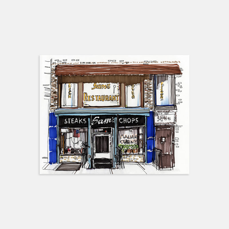 Sam's Italian Restaurant Cobble Hill Brooklyn Hand Drawn Illustration Print Only