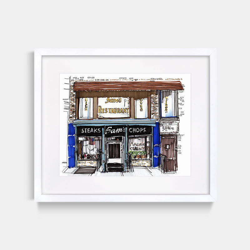 Sam's Italian Restaurant Cobble Hill Brooklyn Hand Drawn Illustration With White Gallery Frame