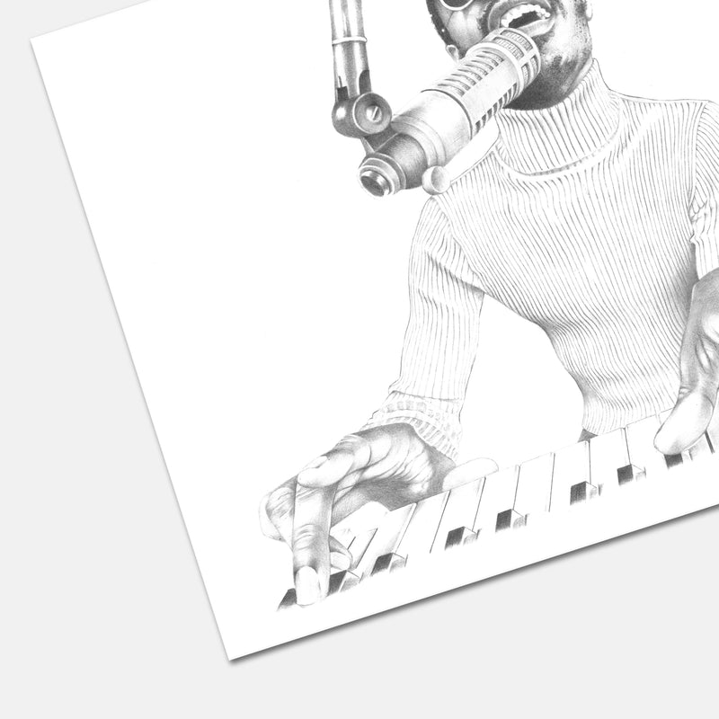 Stevie Wonder Hand Drawn Illustration in Recording Studio Print Detail