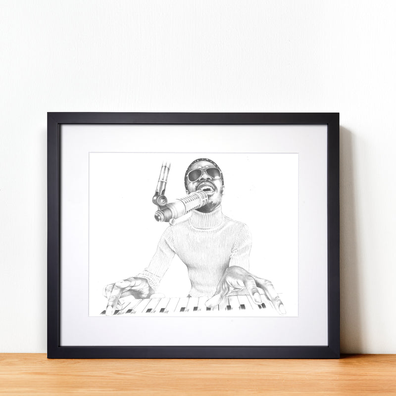 Stevie Wonder Hand Drawn Illustration in Recording Studio With Black Gallery Frame